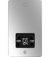 Hager 110/240V Shaver Outlet (Polished Steel/Black)