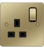 Hager 1 Gang Double Pole Switch Socket (Polished Brass/Black)