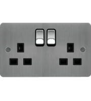 Hager 2 Gang Double Pole Switch Socket (Brushed Steel/Black)