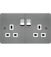 Hager 2 Gang Double Pole Switch Socket (Brushed Steel/White)