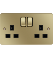 Hager 2 Gang Double Pole Switch Socket (Polished Brass/Black)