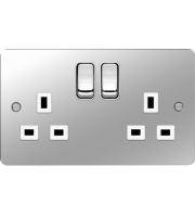 Hager 2 Gang Double Pole Switch Socket (Polished Steel/White)