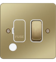 Hager Fused Connection Unit Switch Flex Outlet (Polished Brass)