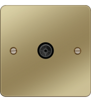 Hager Single CO-AX TV O/F (Polished Brass)