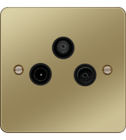 Hager TV&FM/DAB and Satellite Outlet (Polished Brass)