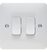 Hager 10AX 2 Gang 2 Way Wall Switch (White)
