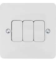 Hager 10AX 3 Gang 2 Way Wall Switch (White)