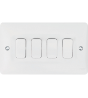 Hager 10AX 4 Gang 2 Way Wall Switch (White)