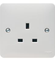 Hager 13A 1 Gang Unswitched Socket (White)
