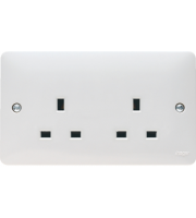 Hager 13A 2 Gang Unswitched Dual Earth Socket (White)