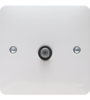Hager Single F Type Screened Satellite Outlet (White)
