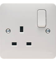 Hager 1 Gang Double Pole Switched Socket (White)