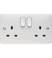 Hager 2 Gang Double Pole Switched Socket Dual Earth (White)