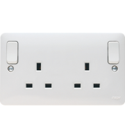 Hager 2 Gang Double Pole Switched Socket with Outboard Rockers (White)