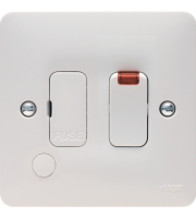 Hager 13A Switched FCU with LED and Flex Outlet (White)