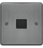 Hager Master Telephone Socket (Brushed Stee)