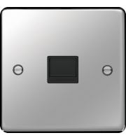 Hager Master Telephone Socket (Polished Steel)