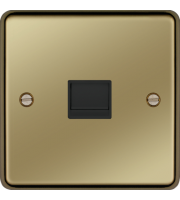 Hager Secondary Telephone Socket (Polished Brass)