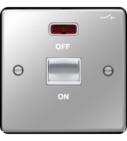 Hager 50A Double Pole Switch 1 Gang with LED (Polished Steel)