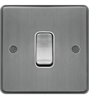 Hager 20A Double Pole Switch (Brushed Steel)