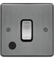 Hager 20A Double Pole Switch Flex Outlet (Brushed Steel)