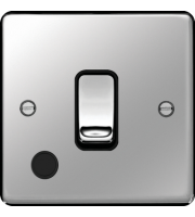 Hager 20A Double Pole Switch Flex Outlet (Polished Steel)