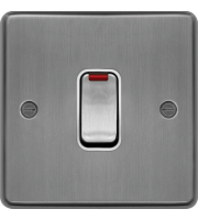 Hager 20A Double Pole Switch with LED Indicator (Brushed Steel)
