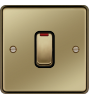 Hager 20A Double Pole Switch with LED Indicator (Polished Brass)