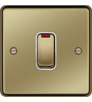 Hager 20A Double Pole Switch with LED (Polished Brass)