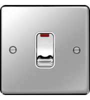 Hager 20A Double Pole Switch with LED Indicator (Polished Steel)