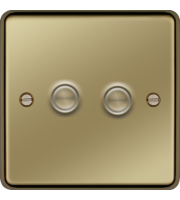 Hager 2 Gang Dimmer Switch (Polished Brass)