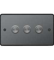 Hager 3 Gang Dimmer Switch (Black Nickel)