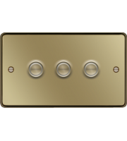Hager 3 Gang Dimmer Switch (Polished Brass)