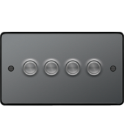 Hager 4 Gang Dimmer Switch (Black Nickel)