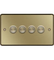 Hager 4 Gang Dimmer Switch (Polished Brass)