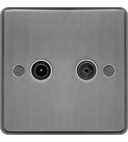Hager TV & FM/DAB Outlet (Brushed Steel)