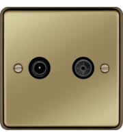 Hager TV & FM/DAB Outlet (Polished Brass)