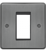 Hager ER Style Plate 1 Module (Brushed Steel)