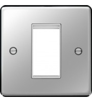 Hager ER Style Plate 1 Module (Polished Steel/White)