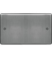 Hager Twin Blank Plate (Brushed Steel)