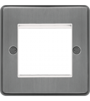 Hager ER Style Plate 2 Module (Brushed Steel)