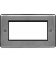 Hager ER Style Plate 4 Module (Brushed Steel)