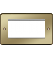 Hager ER Style Plate 4 Module (Polished Brass)