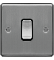 Hager 10AX 1 Gang 2 Way Wall Switch (Brushed Steel)