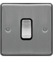 Hager Intermediate Switch (Brushed Steel/Black)