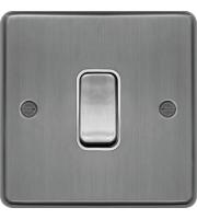 Hager Intermediate Switch (Brushed Steel)