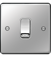 Hager Intermediate Switch (Polished Steel/White)