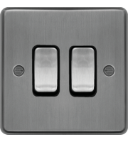 Hager 10AX 2 Gang 2 Way Wall Switch (Brushed Steel)