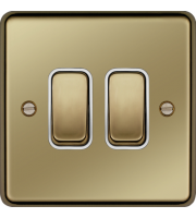 Hager 10AX 2 Gang 2 Way Wall Switch (Polished Brass)