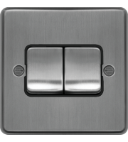 Hager 10AX 2 Gang 2 Way Wide Rocker Wall Switch (Brushed Steel)